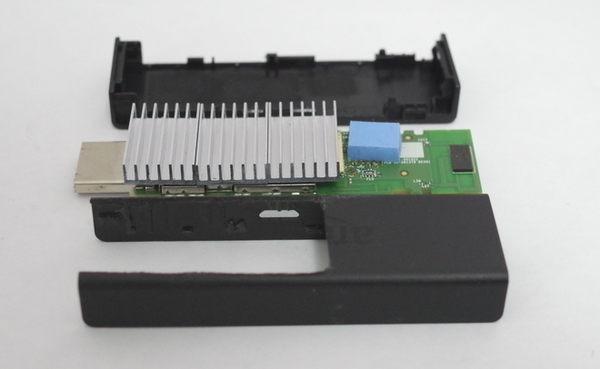 Fire TV Stick アルミ製ヒートシンクの取付 カバー加工完了