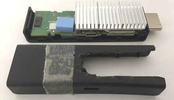 Fire TV Stick アルミ製ヒートシンクの取付 カバー加工